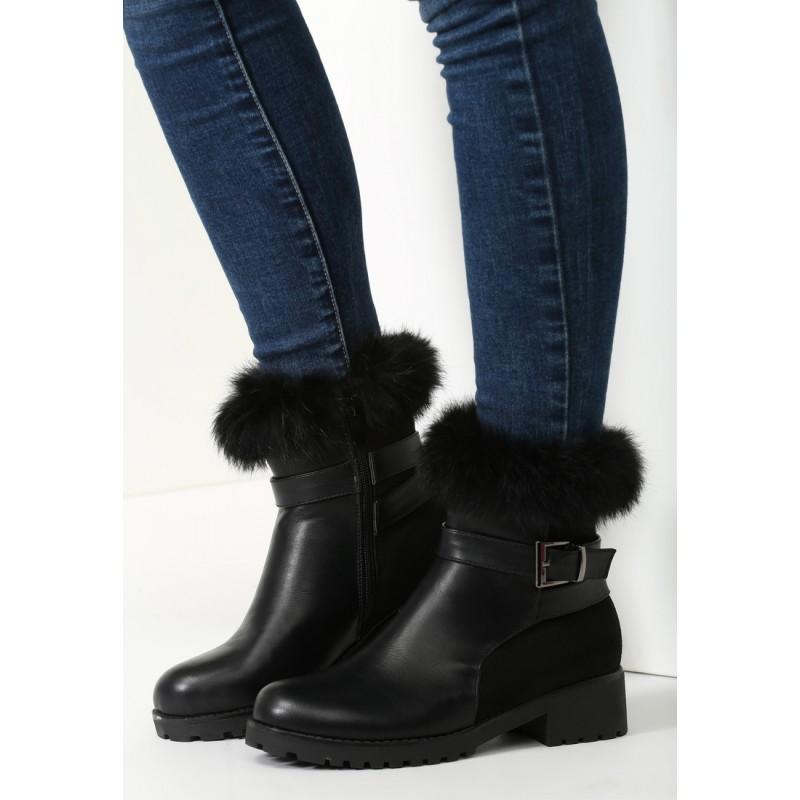 Elegantní dámské zimní boty na hrubém podpatku s ozdobnou přezkou ... 181fe2c9c6