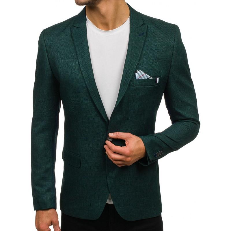 Slim fit pánské sako v tmavozelené barvě - manozo.cz 414d6ef842