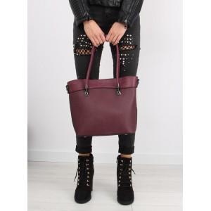 Moderní dámská kabelka do ruky v bordó barvě s bočním zipem