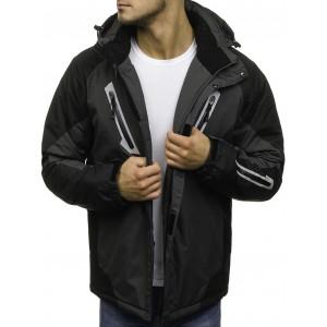 Šedá pánská lyžařská bunda s kapsami na hrudi a s kapucí