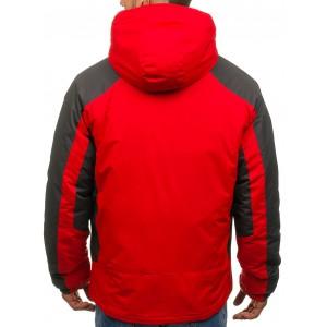 Kvalitní červená pánská lyžařská bunda s kapsou na hrudi