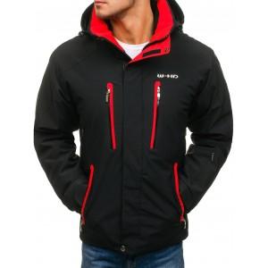 Pánská černo červená lyžařská bunda s kapsami na hrudi