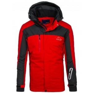 Zateplená pánská lyžařská bunda v červené barvě s kapucí a kapsami