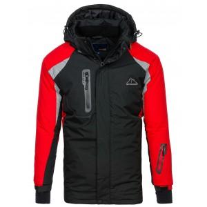 Pánská lyžařská červeno černá bunda s kapucí