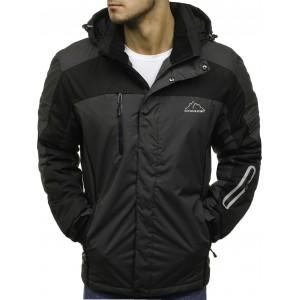Tmavě šedé pánské lyžařské bundy s nastavitelnými rukávy s kapucí