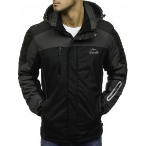 Černé zateplené pánské lyžařské bundy s kapucí a kapsami na zip