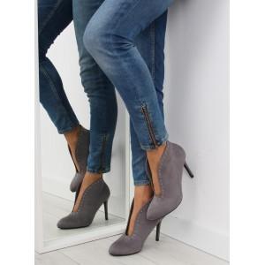Elegantní dámské semišové lodičky v šedé barvě na podpatku