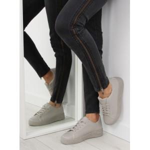 Šedé dámské sportovní boty s tlustou podrážkou a tkaničkami