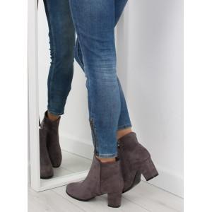 Jednoduché dámské boty na podpatku šedé barvy