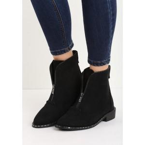 Pohodlné dámské černé boty se zipem