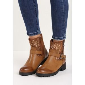 Hnědé dámské kotníkové boty s přezkou a kamínky