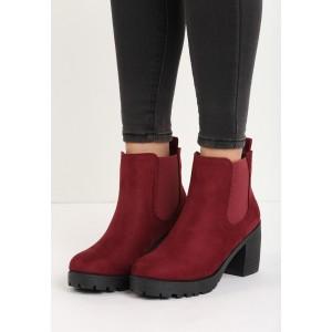 Kotníkové vínové dámské boty na hrubém podpatku