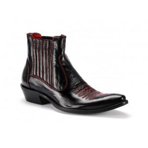 Černé pánské kožené kovbojky COMODO E SANO s červeným prošíváním