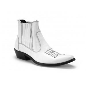 Pánské kožené kovbojky COMODO E SANO v bílé barvě s černým prošíváním