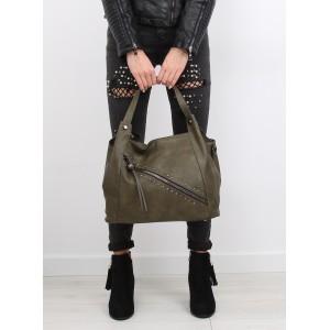 Moderní zelené dámské kabelky na rameno s třásněmi a zipem