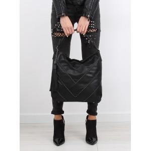 Moderní dámské kabelky na rameno v černé barvě s vybíjením a třásněmi