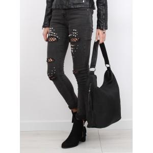 Klasická černá dámská kabelka na rameno s nastavitelným popruhem a třásněmi