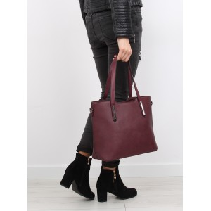 Dámské kabelky bordó barvy na rameno a zip s kovovými ozdobami