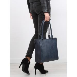 Tmavě modrá dámská kabelka na rameno s vzorovaným ramínkem