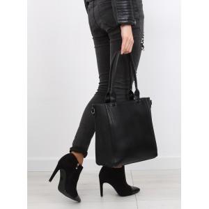 Klasická černá dámská kabelka na rameno se vzorem na boku