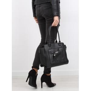 Vybíjené černé dámské kabelky na rameno s bočním zipem