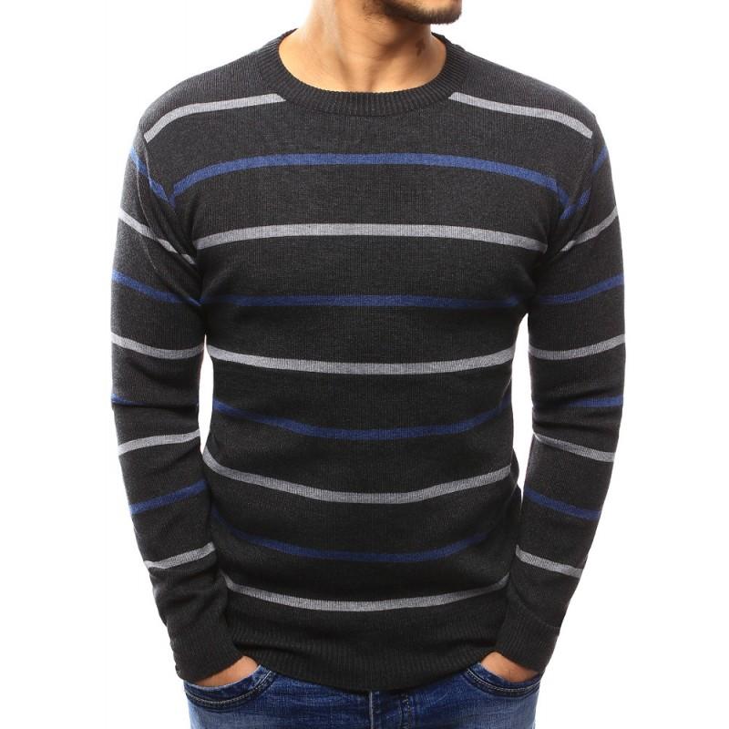 Jednoduchý pánský pruhovaný svetr v tmavě šedé barvě - manozo.cz 533eb835f1