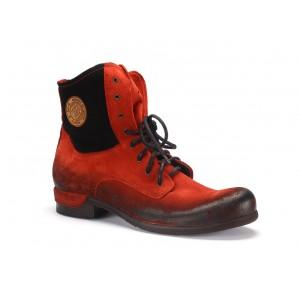 Červené pánské kotníkové kožené boty COMODO E SANO se šňůrkami
