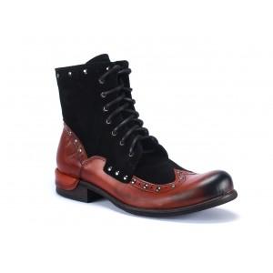 Šněrovací pánské kožené boty červeno černé barvě na nízkém podpatku