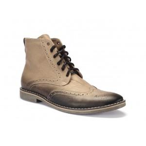 Béžové pánské kožené kotníkové boty na vázání COMODO E SANO