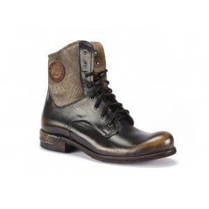 Pánské kožené vysoké boty COMODO E SANO v černo béžové barvě