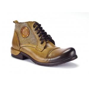 Žluté pánské kožené boty COMODO E SANO na šněrování