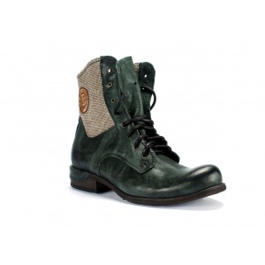 Vysoké pánské kožené boty v zelené barvě COMODO E SANO