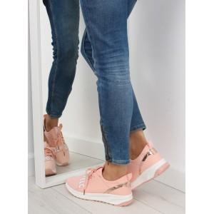 Růžová dámská sportovní obuv s tkaničkami a tlustou podrážkou