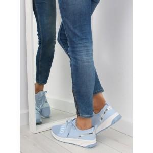Dámské sportovní boty modré barvy s tkaničkami a nápisem
