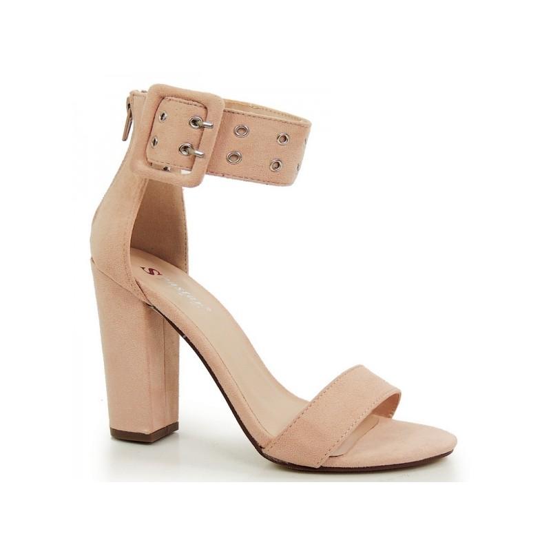 320d3d38769 Dámské sandály na hrubém podpatku růžové barvy - manozo.cz