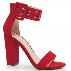 Červené dámské sandály na hrubém podpatku s širokým páskem