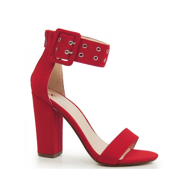 83835e8daf Červené dámské sandály na hrubém podpatku s širokým páskem - manozo.cz