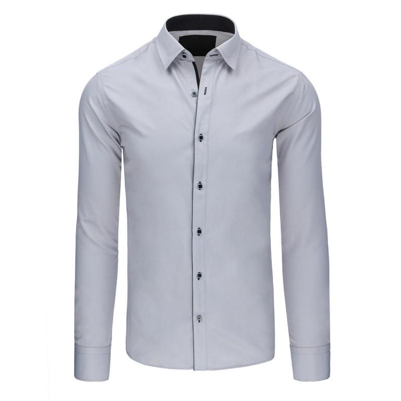 edc02f48bd6 ... rukávem Moderní pánská košile šedé barvy s černým lemováním. Předchozí