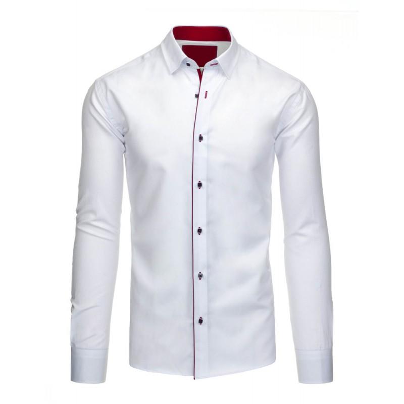 d2450bfdf1c Bílo červená pánská slim fit košile s dlouhým rukávem - manozo.cz