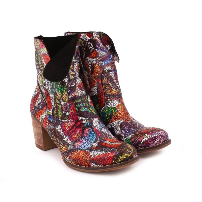Barevný stylové kožené boty na podpatku pro dámy - manozo.cz 46a5fc911d