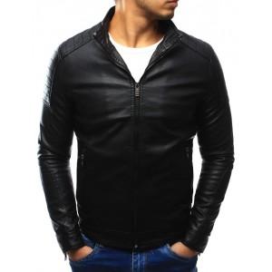 Černá přechodná pánská kožená bunda na každý den