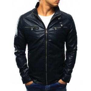 Tmavě modrá pánská přechodná kožená bunda se vzorem na ramenou