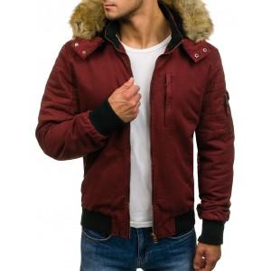 Pánská zimní bordó bunda s kožešinou na kapuci