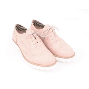Moderní kožené polobotky růžové barvy pro dámy