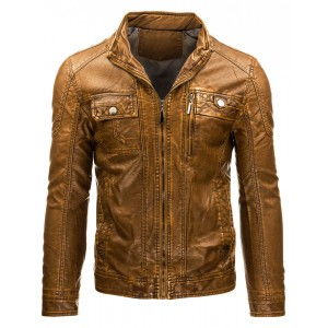 Pánská přechodná kožená bunda hnědé barvy s náprsními kapsami