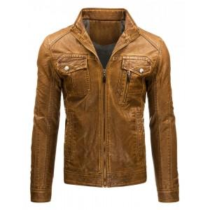 Pánská přechodná kožená bunda bez kapuce v hnědé barvě s kapsami a zipem