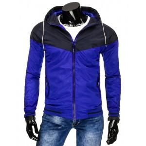 Modrá pánská přechodná bunda s kapsami a černou kapucí