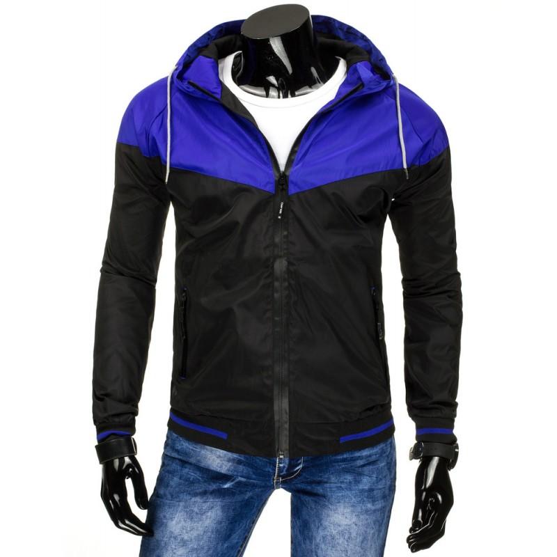 cb94acad35c0 ... pánské bundy černé barvy s modrou kapucí a bílými tkaničkami. Předchozí