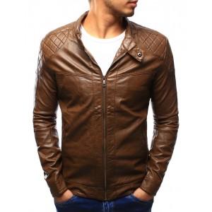 Hnědá pánská kožená bunda na jaře se vzorem na ramenou a kapsami