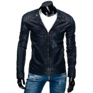 Tmavě modrá pánská kožená bunda bez kapuce do přechodného počasí